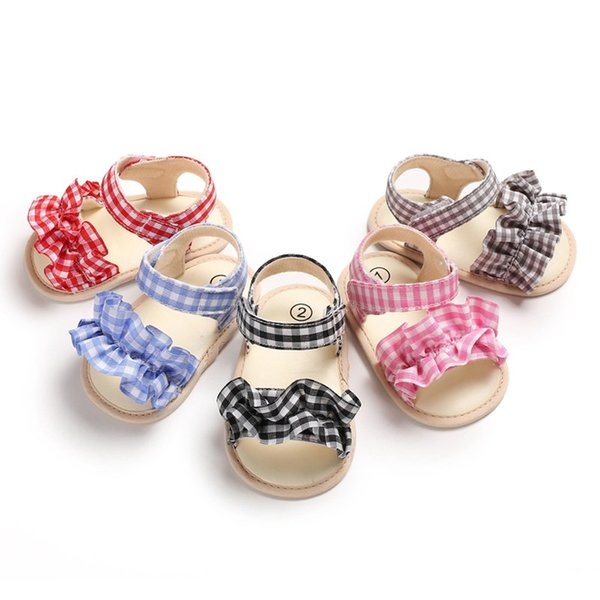Breathable Sandals Infant Anti Slip Crib Shoes Beach Shoes Sandals Plaid Lace Baby Summer Toddler Kids Girls For 0-18M