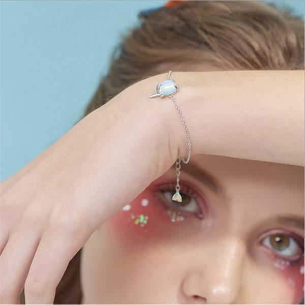 Yeni Moda Gümüş Unicorn Bilezik 925 Asimetri Aytaşı Unicorn Gökkuşağı Kişilik Bilezik kolye İçin Kadınlar Kız Takı