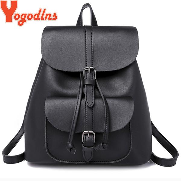Yogodlns Trendy Female Drawstring PU Leather Backpacks Teenage Girls Small School Bag High Quality travel bags Casual Rucksack