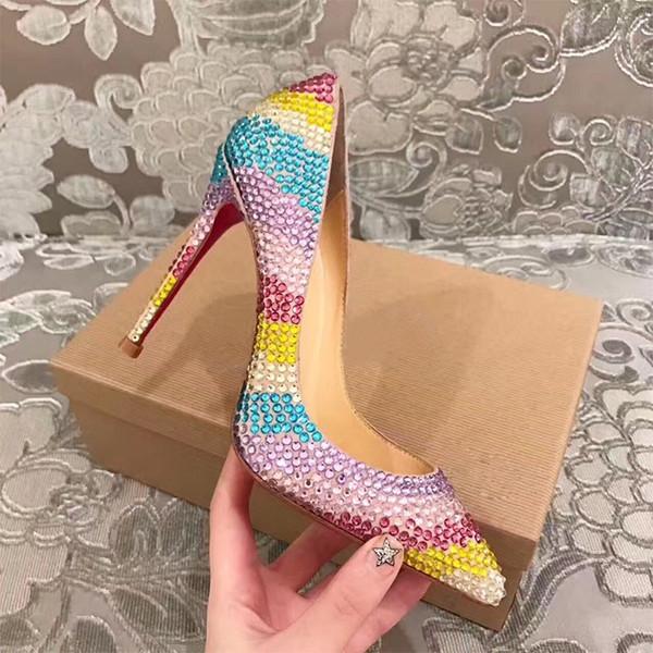 Zapatos de tacón alto afilados Zapatos individuales Zapatos con diamantes de imitación Aumento de la mujer