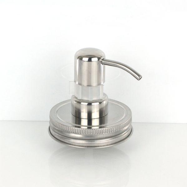 Tornillo al por mayor Botella de champú Jabón Acero inoxidable Plata Tarro de masón (sin incluir el tarro) Tapa Bomba dispensador de loción de vidrio