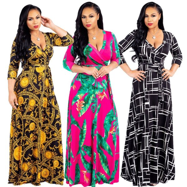 Women Summer Designer Floral Print Dress V Neck Half Sleeve Oversize Dresses Sexy Style Casual Apparel Female Clothing