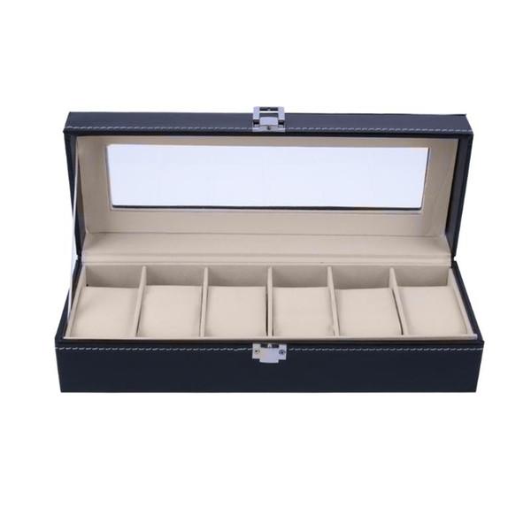 Caja de caja de reloj de pulsera de 6 ranuras Caja de almacenamiento de joyería con estuche de cubierta Relojes de escaparate de joyería Organizador de soporte de pantalla