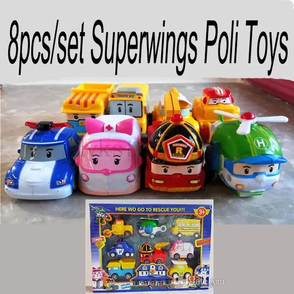 8pcs / set Superwings Poli Jouets Corée Robocar Poli - Enfants En Plastique / Cadeau / Enfants