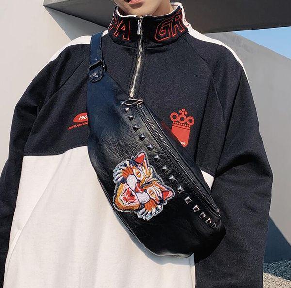 La borsa degli uomini di marca della borsa degli uomini all'ingrosso di marca di tendenza della via del commercio all'ingrosso della fabbrica ricopre la borsa di petto di cuoio del ricamo di modo