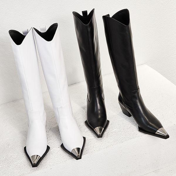 Metallic Pointed Toe Chunky High Heels Slip On 2019 New Winter Boots Long Women Genuine Leather Black White Street Fashion