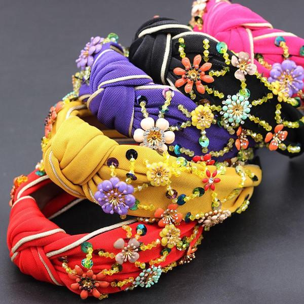 flores moda boêmia embrulhadas personalidade dança headband flor de cristal metálica geométrica colorida versátil cabeça 865 T191031