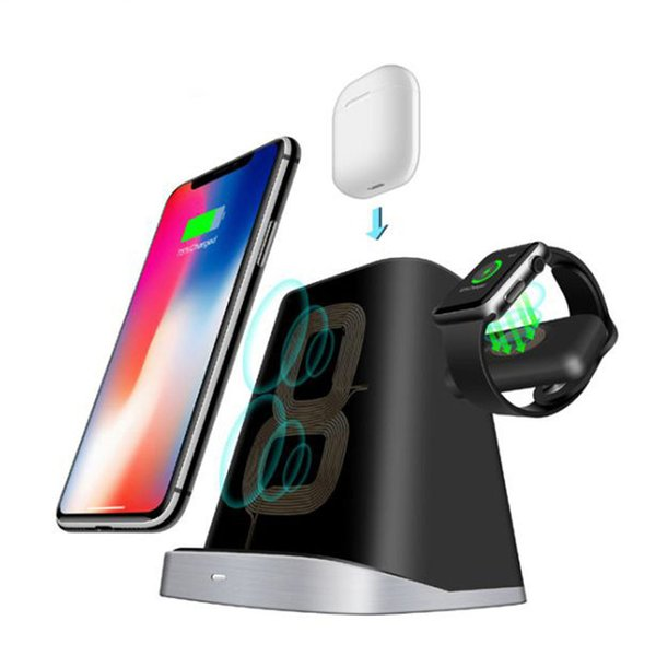 3 IN 1 For Apple Watch Magnetic Charger AirPods iphone 8 Plus XS max Fast quick Qi Wireless Charging base For S8 S9 S10 plus