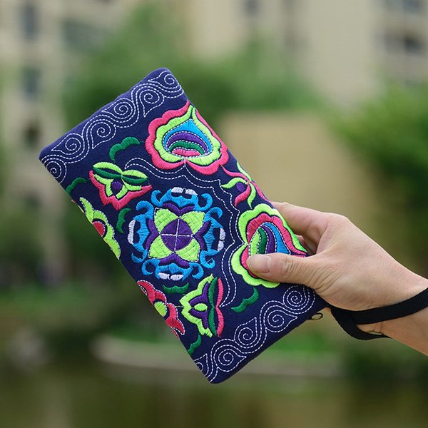 2019 New Women Vintage Chinese Ethnic Floral Embroidered Coin Clutch Long Wallet Coin Purse Card Holders Handbags Fa1
