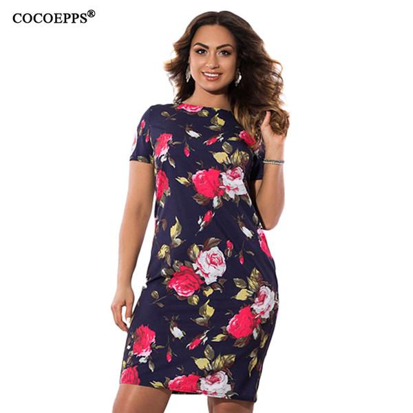 Cocoepps Summer Dress Floral Print 2019 Vintage Plus Women Clothing Dresses Big Size Ladies Office Vestidos 5xl 6xl J190529