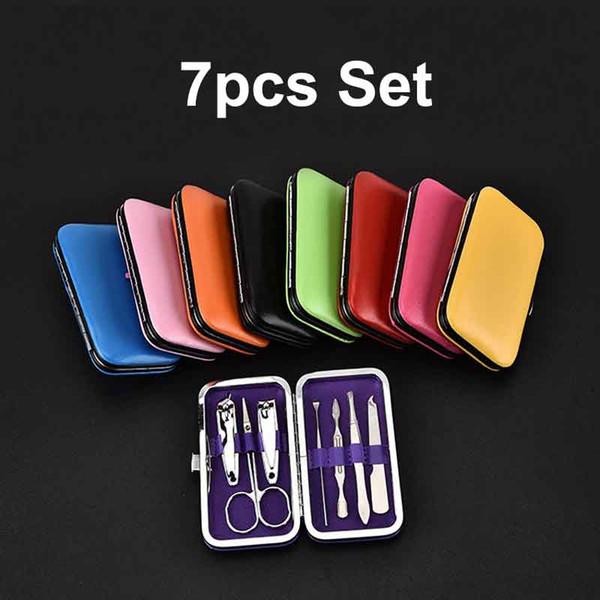 top popular LOGO Customize 6pcs 7pcs Beauty Tool Set Stainless Steel Nail Toenail Clipper Cutter Trimmer Manicure Pedicure Care Scissors Free Ship 070 2021