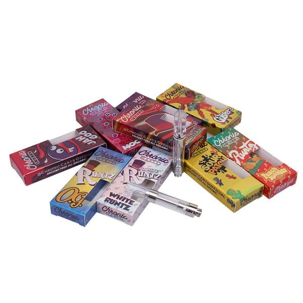 2019 Monopoly Chronic Cartridge Holographic Box Package 0.8 1.0ml Serbatoio ceramica Coil G5 Vape Carrelli per 510 Atomizzatore vaporizzatore olio denso