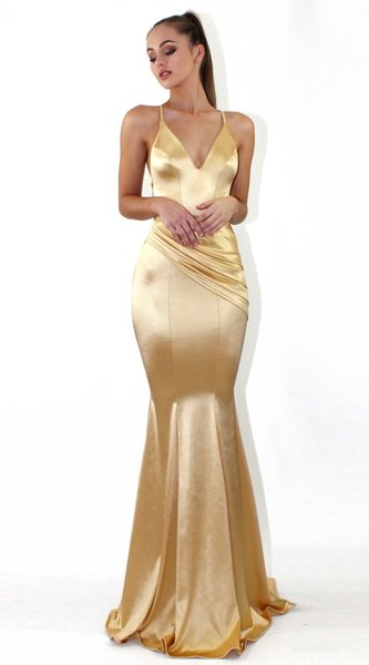 2019 Royal Blue Gold Mermaid Prom Dresses Long Sleeves Backless Strap Cross Sweep Train Special Occasion Burgundy Evening Party Gowns