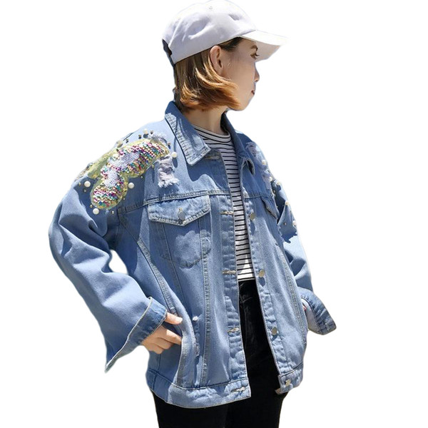 Denim Jacket Female 2019 Spring Autumn New Design Butterfly Sequins Beaded Hole Loose Long Sleeve Tops Women Coat Bomber CM1101