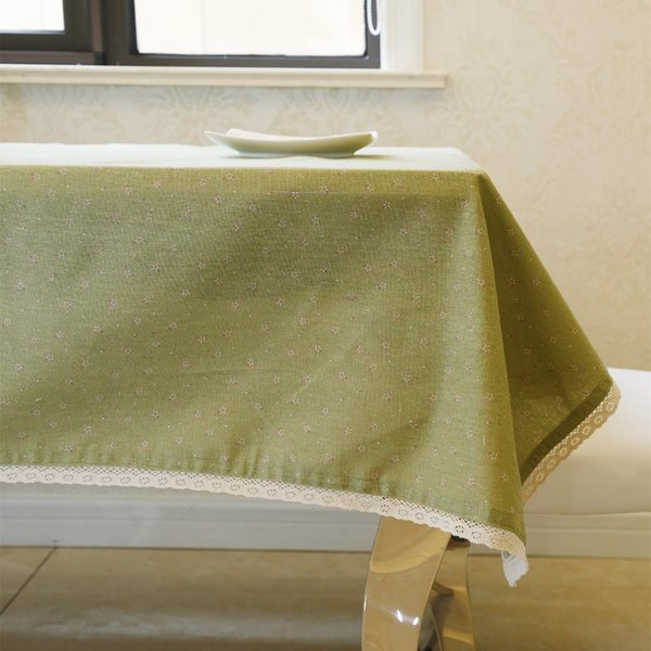 Latest High Grade Fashion Cotton Linen Green Floral Tablecloth Breakfast Table Desk Cover Poker Table Cloth