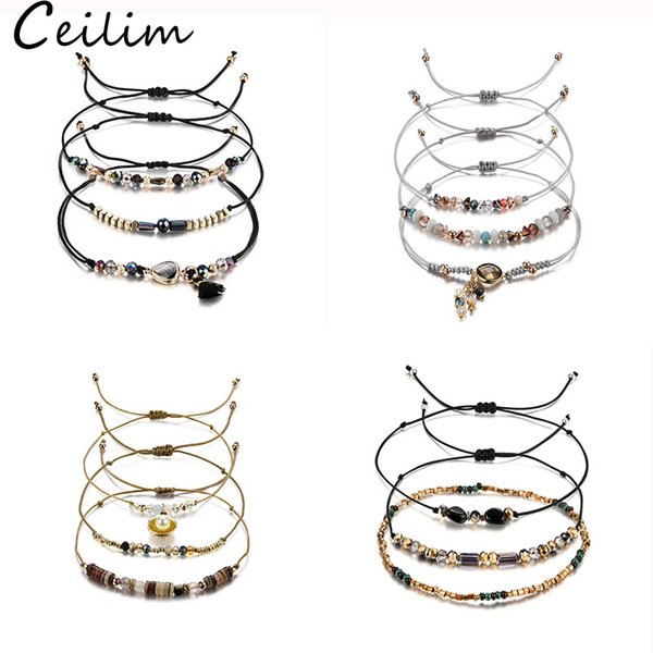 Trendy Transmit Love 3pcs/lot Wax Bracelet for Woman Natural Stone Crystal Rice Beads Woven Bracelet With Heart Shape Charm Wholesale Jewelr