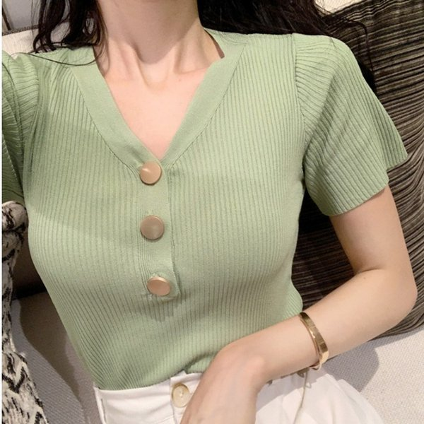 Summer fashion new style retro pit knitted slim single-row button short-sleeved jacket women's white T-shirt with V-collar