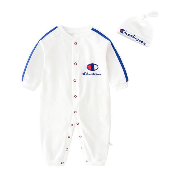 baby boys rompers designer kids jumpsuits infant girls 100% cotton Long sleeves romper hat boy clothing Pring autumn B78