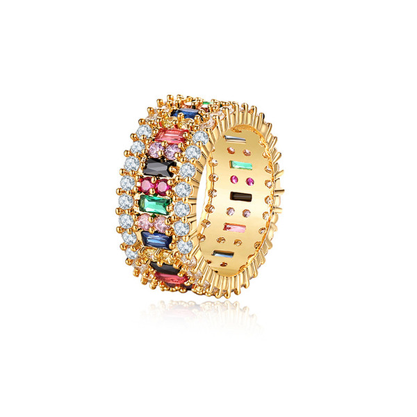 Luxury Designer Love Ring Women 6-9 Gold Plated Rainbow Rings Micro Paved 7 Colors Flower Wedding Jewelry Couple Gift