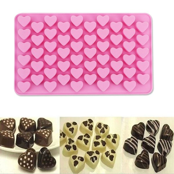 2019 Silicon chocolate molds heart shape 55 holes silicon cake mold silicon ice tray jelly moulds soap mold cake bakeware tools