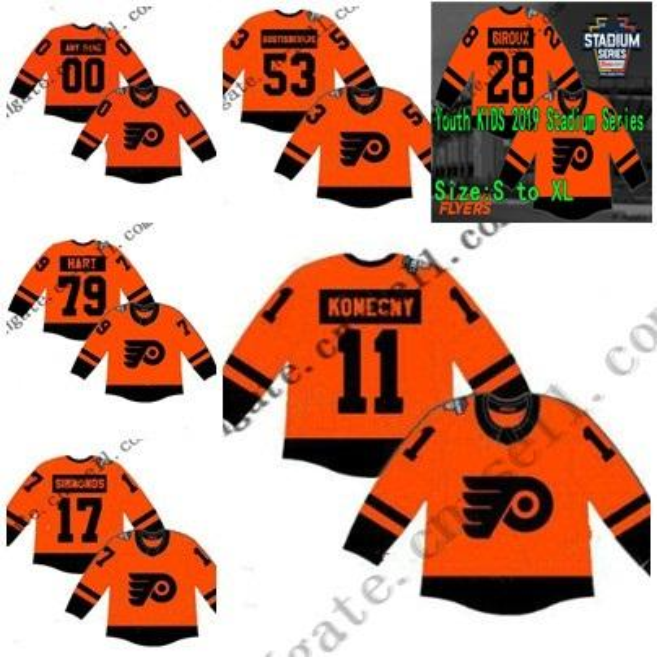 Custom 79 Carter Hart 2019 Stadionserie Philadelphia Flyer Herren Lady Youth 93 Voracek Gostisbehere 17 Simmonds Claude Giroux Eishockeytrikot