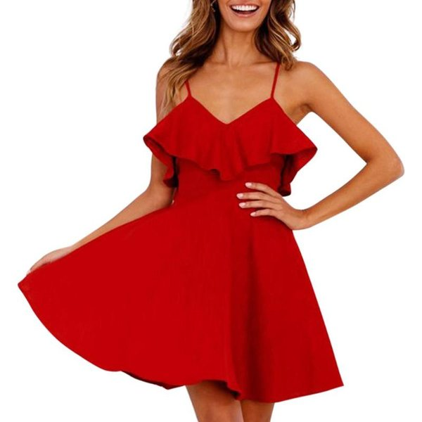 Ladies Women Deep Casual V-Neck Slip Dress Backless Summer Ruffle Sexy Beach Clothing