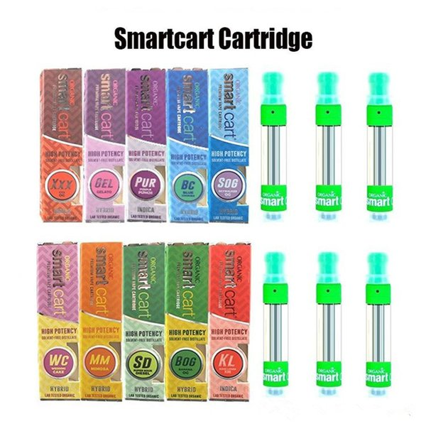 Smart Carts Green Organic Premium Vape Cartridges 1.0ml Glass Tank Ceramic Coil Thick Oil Atomizer Smartcarts e-Cigs 510 thread Vaporizer