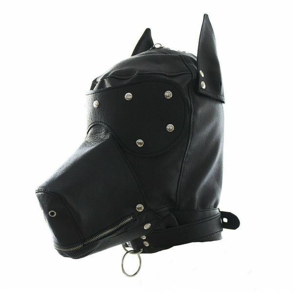 Costume de mascarade chien chiot chef masque à col Party Hood Facial cosplay bouche Gag Choker Muzzel Set Zippé