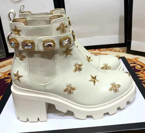 New Arrived Woman Winter Thick Bottom Full Bee Martin Boots Popular Round Toe Gem Elastic Band Short Boots Femal Rhinestone Boots