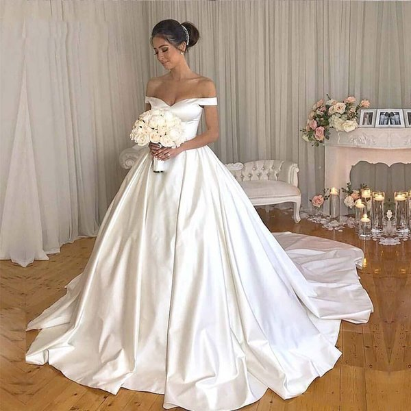 Simple Satin Ball Gown Wedding Dresses 2019 Off Shoulder Court Train Short Sleeves Wedding Bridal Gowns