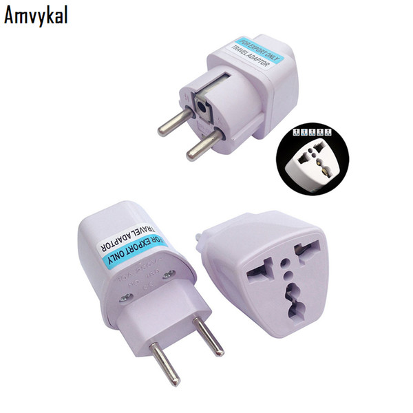 top popular Amvykal International Universal UK AU US to EU Plug Adaptor Brazil Italy AC Power Embedded Plug Adapter Travel Converter Plug 2020