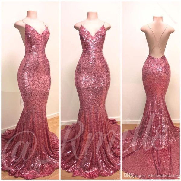 best selling Rose Pink Sequins Mermaid Prom Dresses 2020 Sexy Halter V Neck Sleeveless Fiesta Evening Dresses Backless Plus Size Party Gowns BC1067