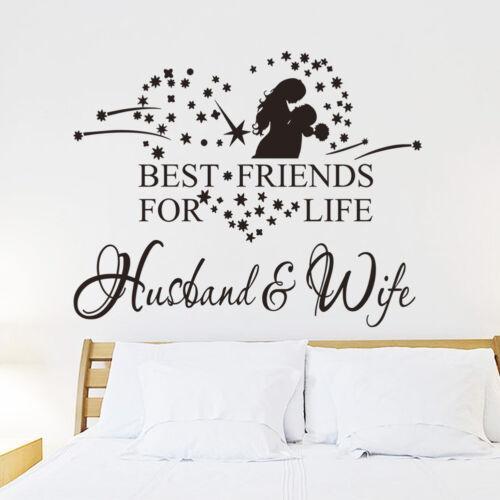 Adesivos de parede esposa marido melhores amigos para a vida decoração do quarto de casamento