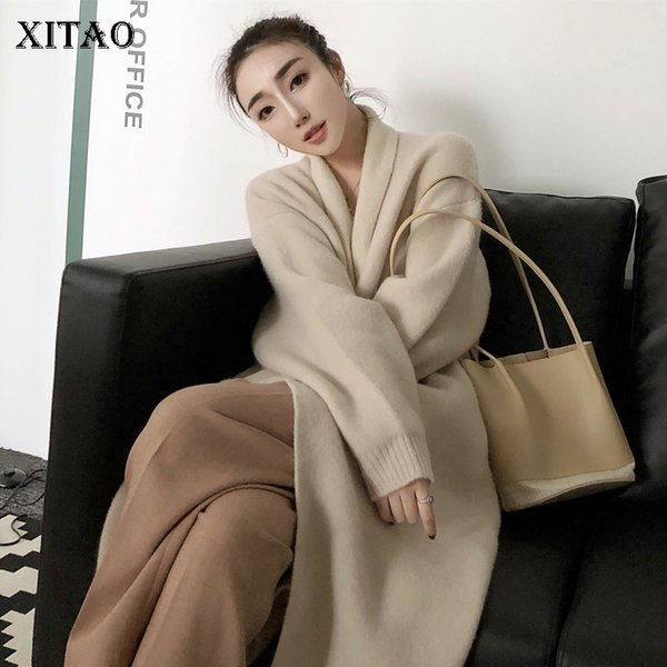 [XITAO] Cardigans Winter 2018 Korea Fashion New Women Solid Color V-neck Full Sleeve Long Casual Knitted Sweater LYH2146
