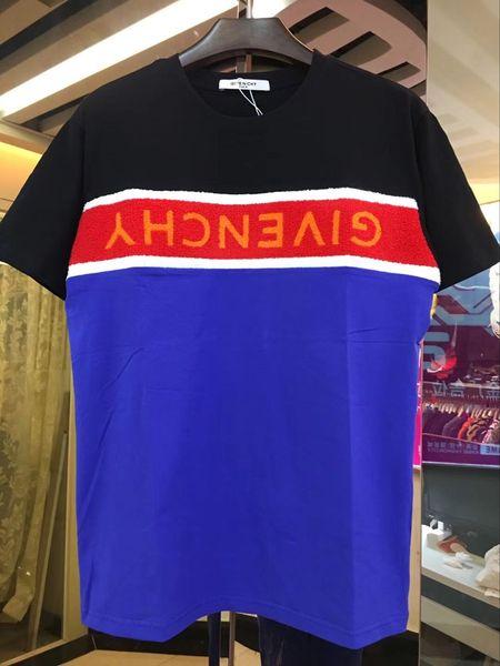 Men's Crew Neck Cotton Short Sleeve T-Shirt tee G09 black logo Hole Men's / Women's Casual Striped Embroidered Pattern Shirt