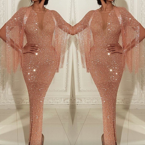 2019 Hot Rose Gold Sequins Mermaid Prom Evening Dress Tassel Sheath Formal Party Gown Custom Made Pagenat Gown Plus Size