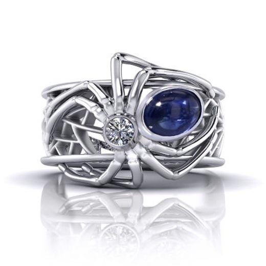 Горячий новый креативный паук кольцо европейский и американский стиль панк-леди инкрустированный сапфировым кольцом6-10
