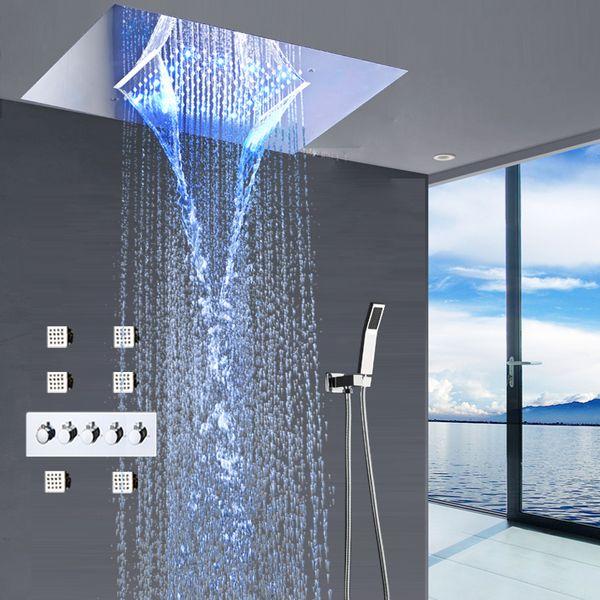 Acheter 2019 Salle De Douche Moderne Système Encastré Au Plafond Grande  Cascade, LED Pluie Robinetterie Set De Douche Thermostatique Haut Débit ...