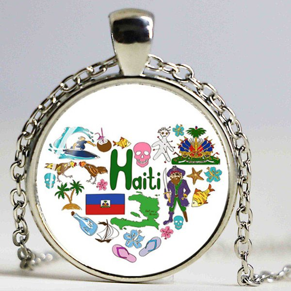 Ethnic Style Glass Dome Pendant Necklace Silver Chain Itlay France Russia Germany Portugal Mexico USA France England Jewelry