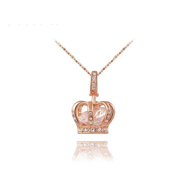Womens Queen Crown Pendant Necklace 3 Lays Rose Gold/Platinum Plated with Austrain Crystals Best Gift for Girl Friend Party Valentine's Moth