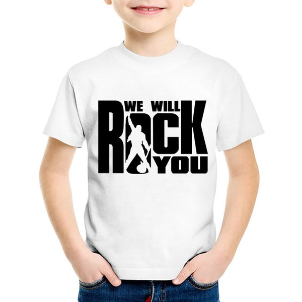 Children Fashion Print We Will Rock You Queen T-shirts Kids Summer Short Sleeve Clothes Boys/Girls Casual Tops Baby Tees,HKP955