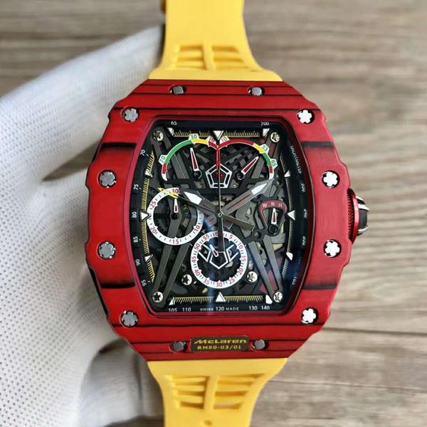 Top Brand Luxury Watch 50-03 Watch Swiss Quartz Chronograph Movement Skeleton Dial Carbon Fiber Case Sapphire Crystal Rubber Strap