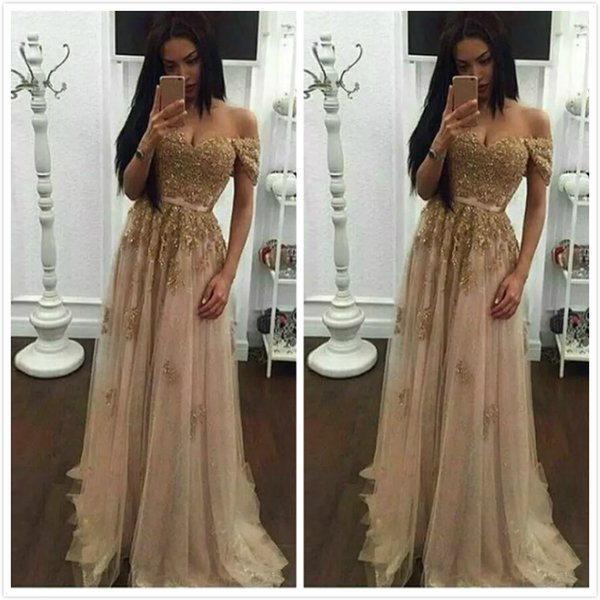 Champagne Lace Beaded Arabic Evening Dresses 2019 Sweetheart A-line Tulle Prom Dresses Vintage Cheap Formal Party Gowns China Free Shipping