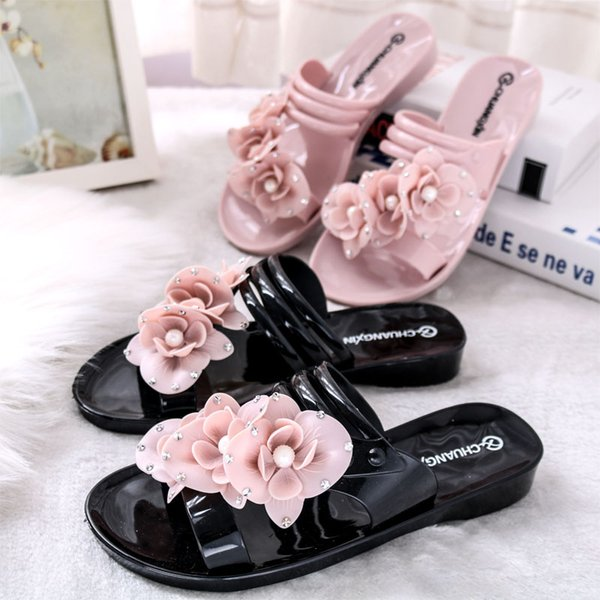 SWYIVY Pink Flower Slippers Wedge Woman Summer 2018 Comfortable Soft Bottom Female Summer Casual Jelly Shoes Plastick Slippers