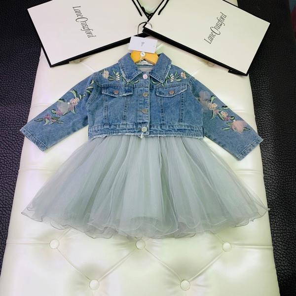 Girls dresses sets kids designer clothes clothes beaded denim clothes + stitching dress 2pcs autumn embroidery flowers sets
