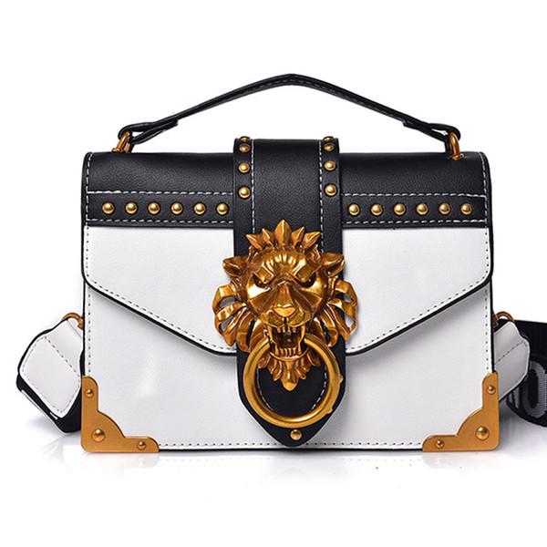 DORANMI Lion Metal Decor Flap Bag Vrouwen 2018 Hot Vierkante Klinknagel Crossbody Schoudertassen Vrouwelijke Keten Messenger Hobo Bags Designer Bags