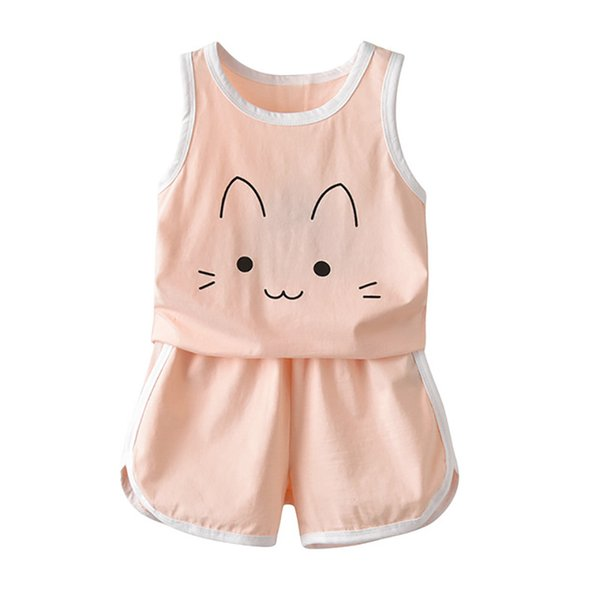 Toddler Kids Baby Boys Clothes Character Sleeveless T-shirt Tops And Pants 2pcs Outfits Clothing Set 2-8y J190715