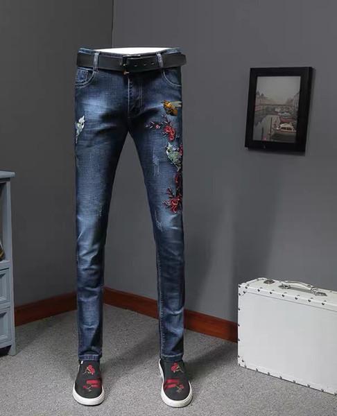19ss marca famosa 1: 1 nuevo agujero para hombre jeans de lujo de alta calidad shishang marca para hombre pantalones populares bordado street hip hop jeans