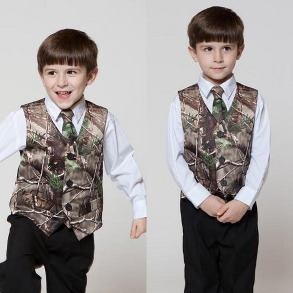 2019 New Camouflage Boy's Formal Wear Little Boy Hunter Slim Fit Men's Suit Vest (Vest +Tie) Country Wedding Waistcoat Dress Tailor Made