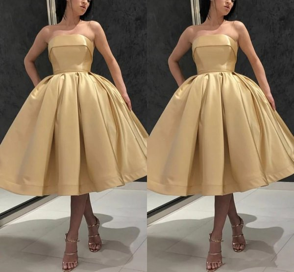 2019 Simple Prom Dresses Strapless Knee Length Special Occasion Dresses Plus Size Formal Party Evening Gowns Cheap Vestidos De Fiesta Custom